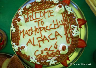 Alpaca Expeditions: celebratory cake