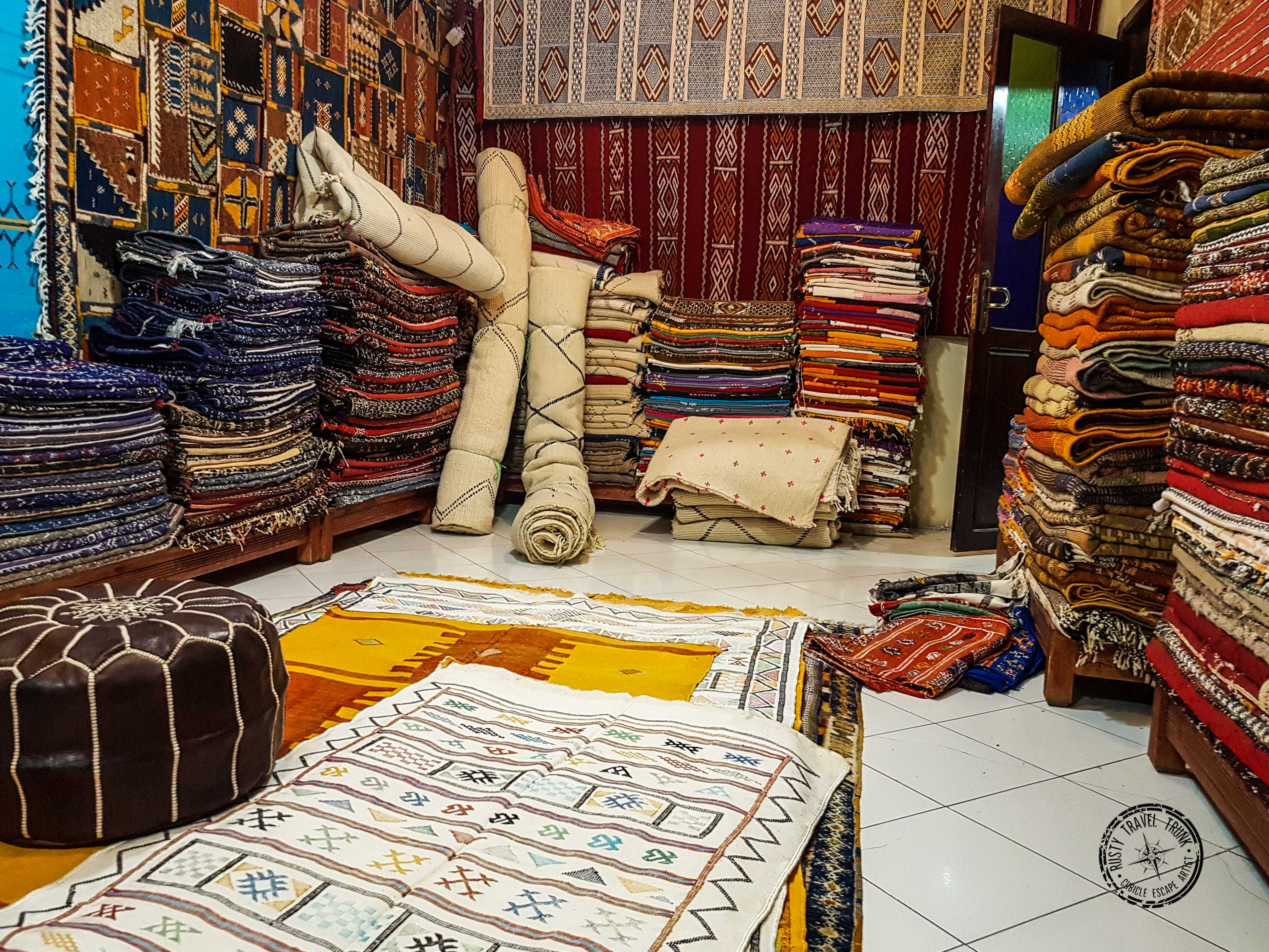 Marrakesh carpet and leather goods shop