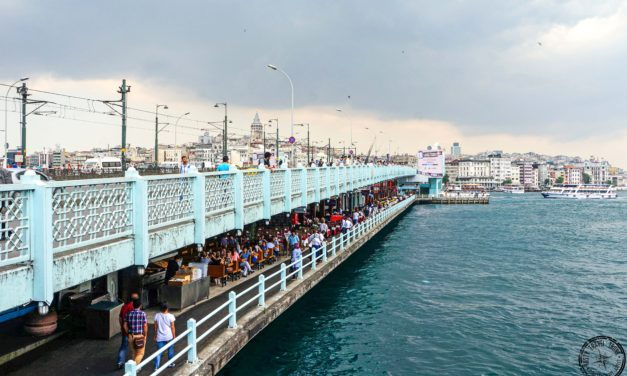 Take a walk along the Galata Bridge in Istanbul
